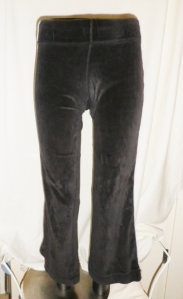 Lululemon Dark Charcoal Grey Velour Pants White Piping Trim 260