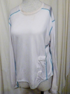 Lululemon White Long Sleeve Running Technical Top Turquoise Threading 330
