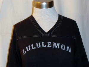 IMGP3910 Lululemon Black V Neck Shirt Top Three Quarter Sleeves 379