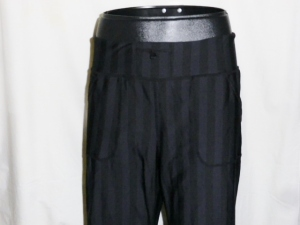 IMGP4155 Lululemon Wide Black Stripes Long Pants Waist Drawstring 381