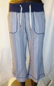 Lululemon Deep Navy Amica Blue Stripe Crop Pants Waist Drawstring 438