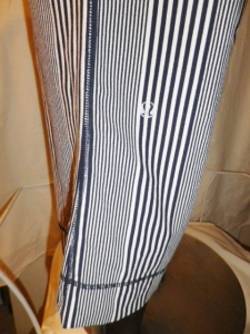 IMGP3497 Lululemon Deep Navy Amica Blue Stripe Crop Pants Waist Drawstring 438