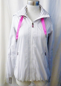 Lululemon White Grey Striped Zippered Hooded Jacket Pink Ties 443