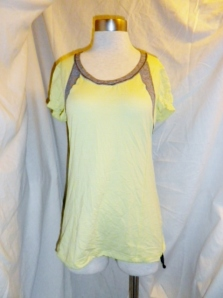 Lululemon Yellow Silverescent Short Sleeve Top Grey Trim Drawstring Waist 475