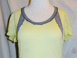 IMGP6835 Lululemon Yellow Silverescent Short Sleeve Top Grey Trim Drawstring Waist 475