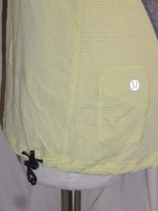 IMGP6842 Lululemon Yellow Silverescent Short Sleeve Top Grey Trim Drawstring Waist 475