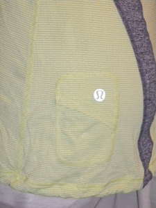 IMGP6843 Lululemon Yellow Silverescent Short Sleeve Top Grey Trim Drawstring Waist 475