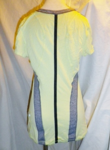 IMGP6844 Lululemon Yellow Silverescent Short Sleeve Top Grey Trim Drawstring Waist 475