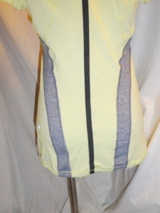 IMGP6847 Lululemon Yellow Silverescent Short Sleeve Top Grey Trim Drawstring Waist 475