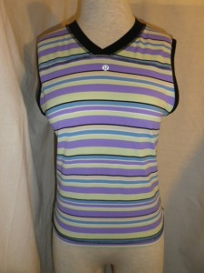 Lululemon Purple Yellow Blue Striped Sleeveless Shirt V Neck Black Trim Top 583