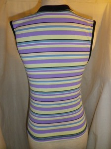 IMGP0110 Lululemon Purple Yellow Blue Striped Sleeveless Shirt V Neck Black Trim Top 583