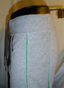 IMGP0458 Lululemon Mens Grey with Green Trim Drawstring Sweatshirt Long Shorts 579