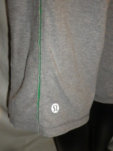 IMGP0459 Lululemon Mens Grey with Green Trim Drawstring Sweatshirt Long Shorts 579