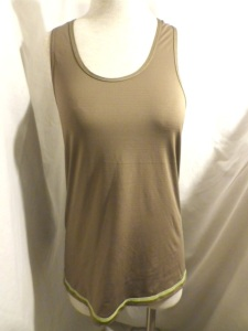 Lululemon Brown Racer Back Tank Top with Lime Green Threading 597