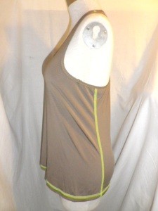 IMGP9985 Lululemon Brown Racer Back Tank Top with Lime Green Threading 597