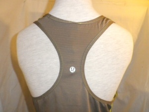 IMGP9987 Lululemon Brown Racer Back Tank Top with Lime Green Threading 597