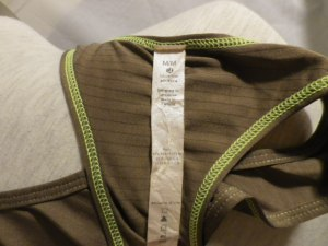 IMGP9988 Lululemon Brown Racer Back Tank Top with Lime Green Threading 597