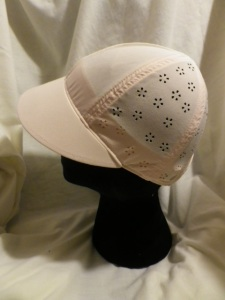 IMGP2930 Lululemon Pale Peach Pink Speed Demon Run Hat Cap with Flower Cut Outs 602