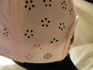 IMGP2934 Lululemon Pale Peach Pink Speed Demon Run Hat Cap with Flower Cut Outs 602