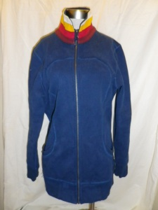 Lululemon Blue Zippered Fleece Jacket Multi Color White Yellow Pink Burgundy Collar 629