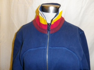 IMGP2492 Lululemon Blue Zippered Fleece Jacket Multi Color White Yellow Pink Burgundy Collar 629