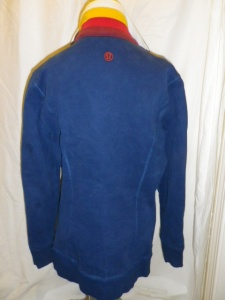 IMGP2497 Lululemon Blue Zippered Fleece Jacket Multi Color White Yellow Pink Burgundy Collar 629